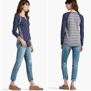 Lucky Brand thermal long sleeve half button Henley